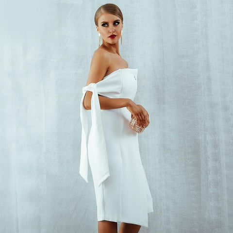Image of Louise One Shoulder Tied Button Dress