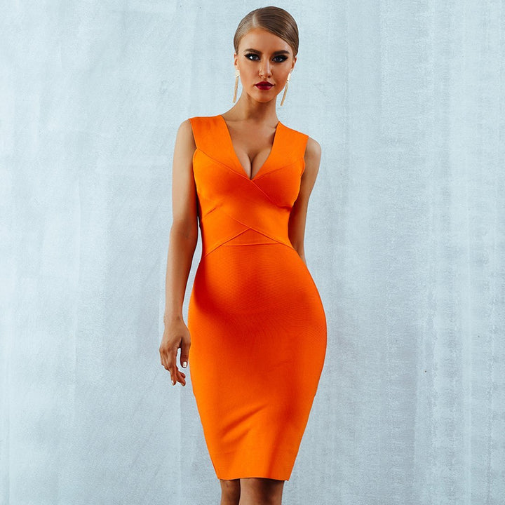 Marilla V Neck Orange Dress