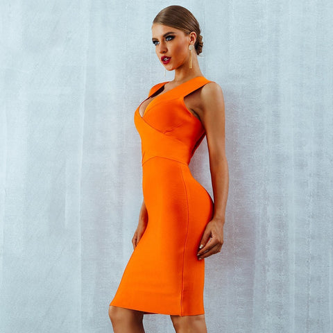 Marilla V Neck Orange Dress, Bandage Dress - Viva Devine