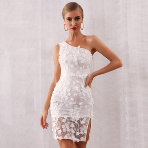 Nalani One Shoulder Lace Pearl Dress