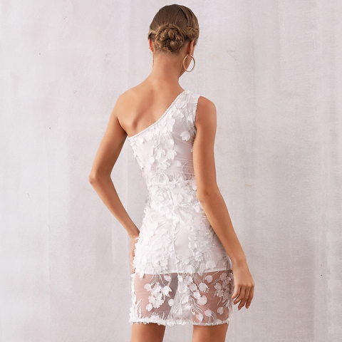 Image of Nalani One Shoulder Lace Pearl Dress
