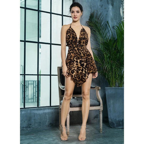 Image of Naomi Leopard Backless Playsuit