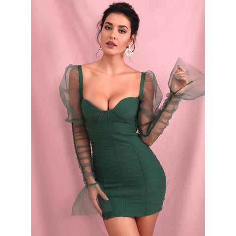 Image of Lucia Puff Sleeves Bodycon Dress
