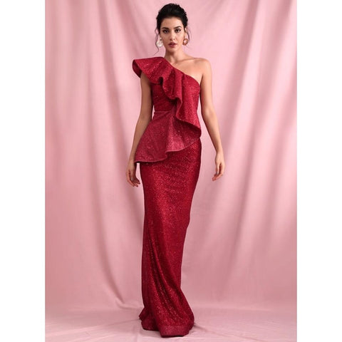 Roselyn One Shoulder Glitter Gown