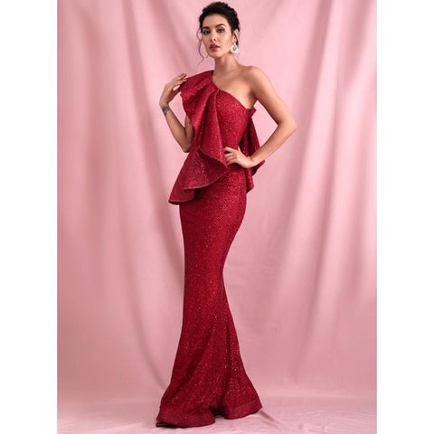 Image of Roselyn One Shoulder Glitter Gown
