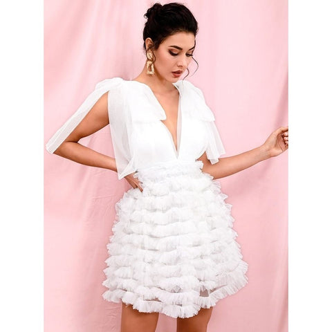 Image of Armina Deep V-Neck Dress | White