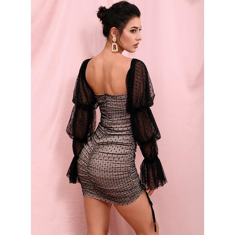 Image of Lelia Polka Dot Mesh Puff Sleeves Dress | Black