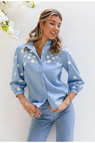 Denim Puff Sleeve Floral Blouse