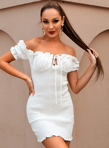 Image of Sarah White Off The Shoulder Mini Dress