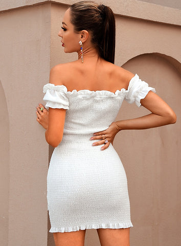 Sarah White Off The Shoulder Mini Dress