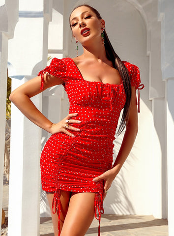 Image of Arina Red Print Puff Short Sleeve Dress
