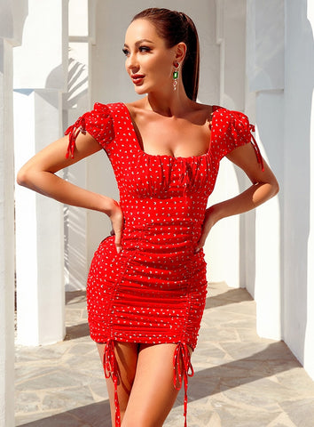 Arina Red Print Puff Short Sleeve Dress