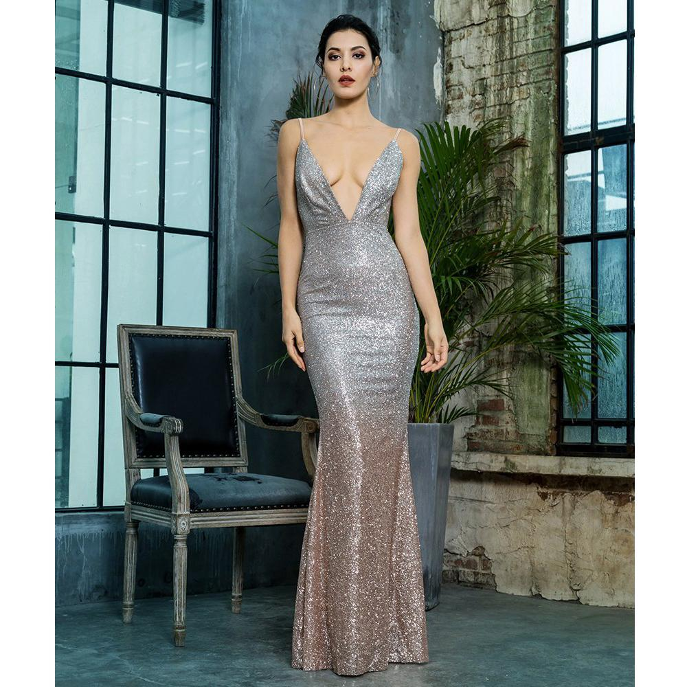 Melrose V Neck Formal Dress, Formal Dress - Viva Devine