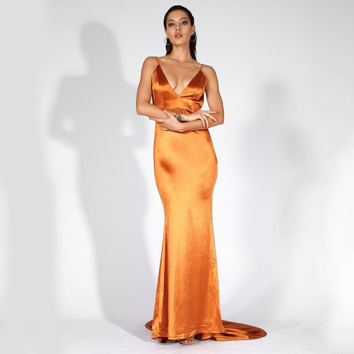 Sahara Backless Shine Formal Dress | Orange