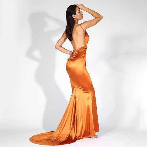 Sahara Backless Shine Formal Dress | Orange, Formal Dress - Viva Devine