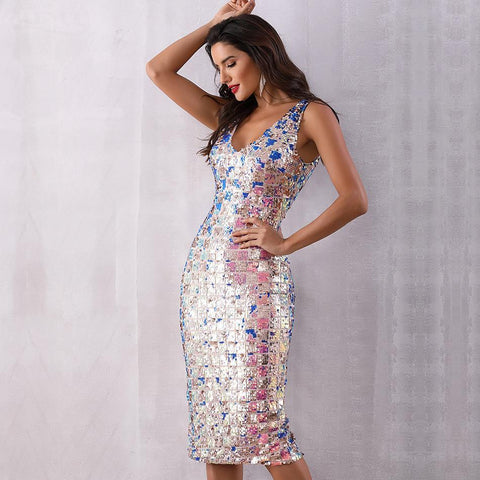 Image of Sarah Sequins Sleeveless Midi Dress
