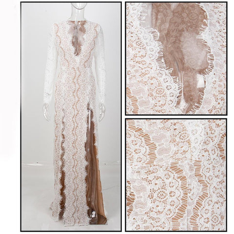 Tina Lace High Slits Formal Dress | White, Formal Dress - Viva Devine