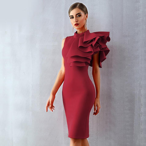 Image of Verona Ruffles Sleeve Party Dress