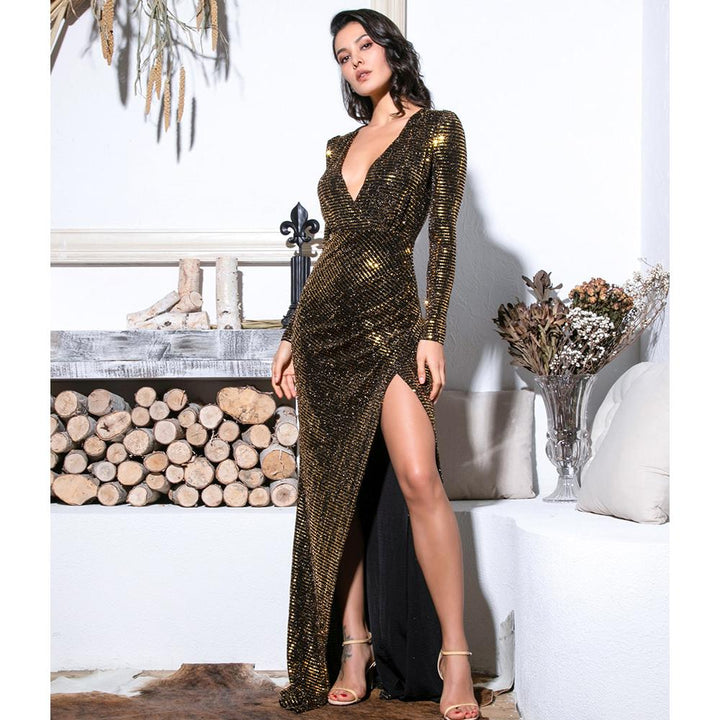 Victoria Sequin Formal Dress | Gold
