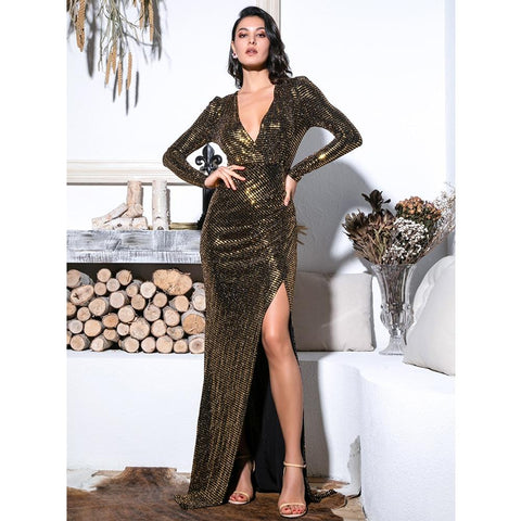 Image of Victoria Sequin Formal Dress | Gold