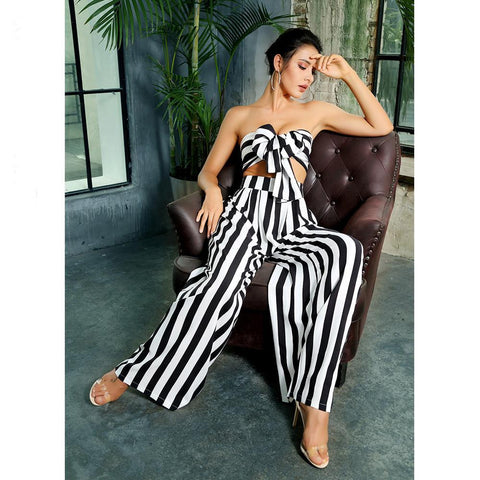 Luca Black and White Stripe Two Pieces