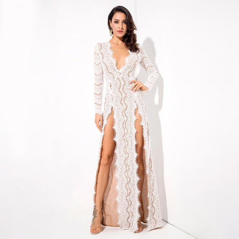Image of Tina Lace High Slits Formal Dress | White, Formal Dress - Viva Devine