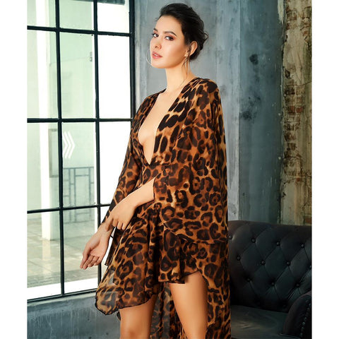 Image of Kylie V Neck Leopard Playsuit, Jumpsuit - Viva Devine