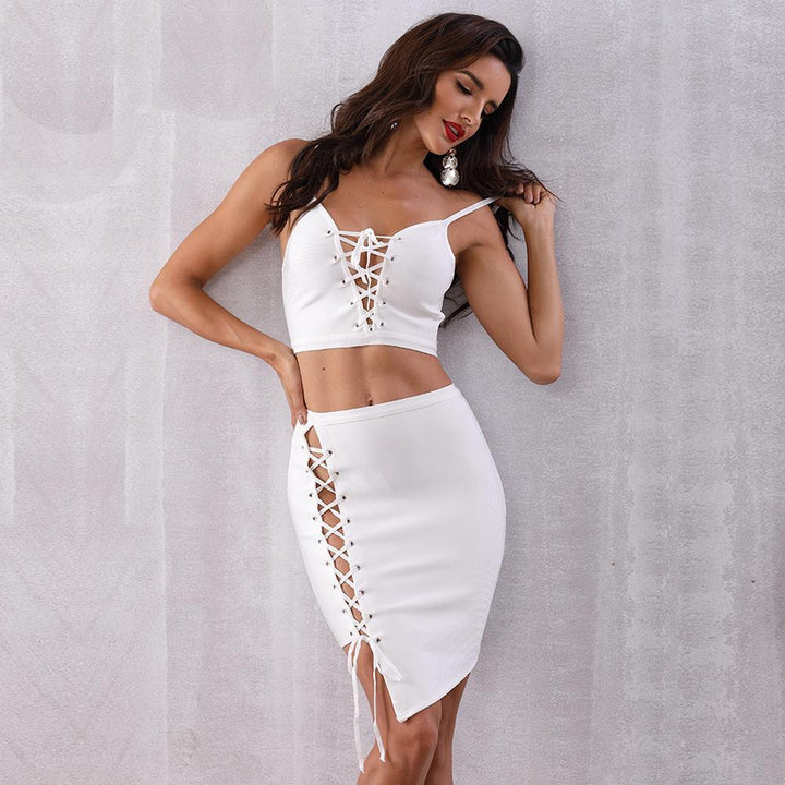 Kesia Hollow Out Two Pieces Set, Bandage Dress - Viva Devine