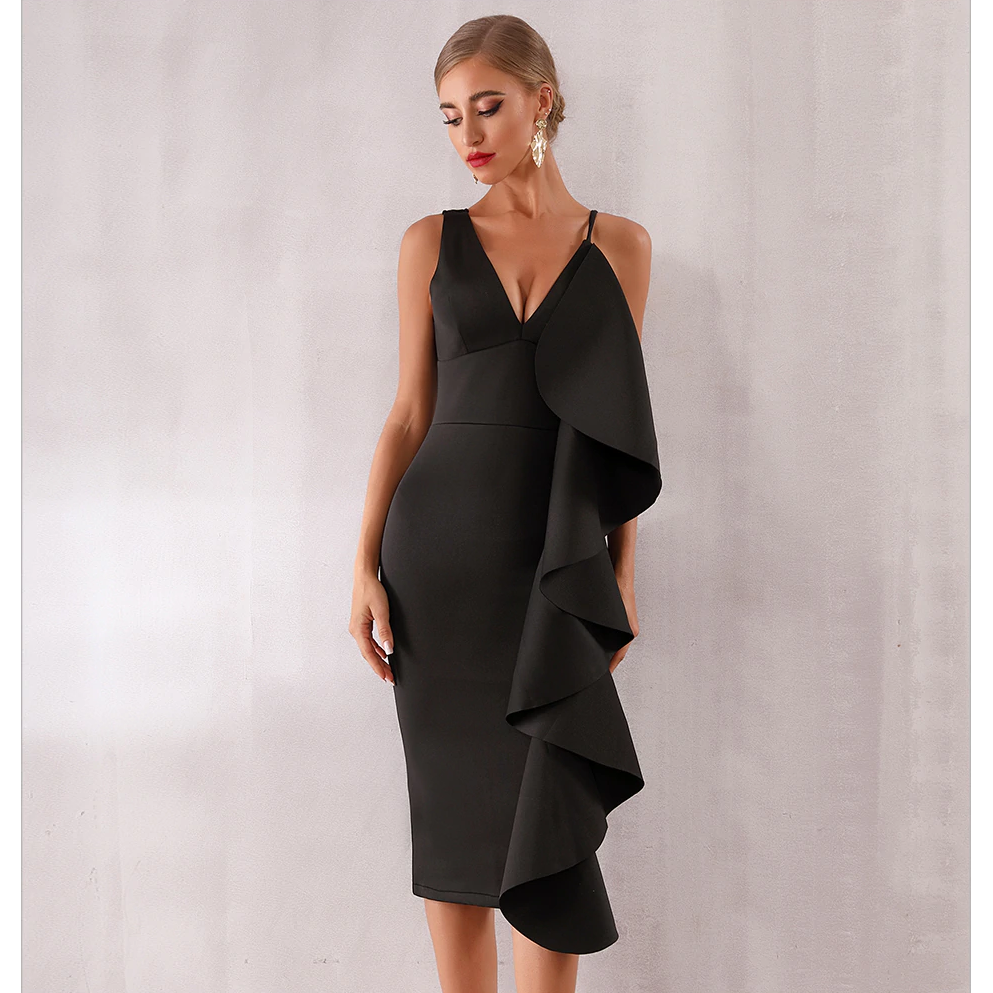 Celia Ruffles Bodycon Midi Dress