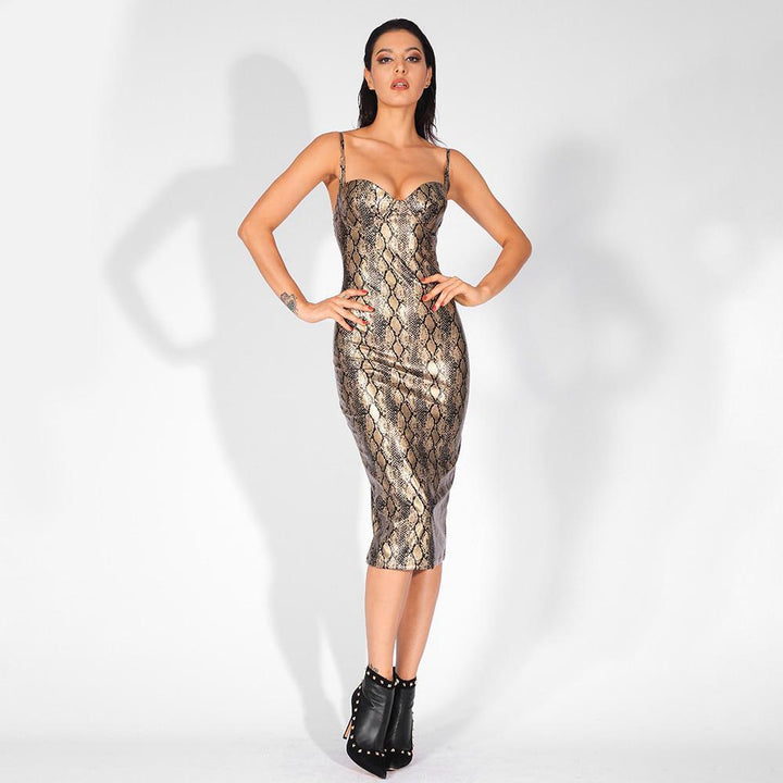 Amaya Snake Elastic Party Dress