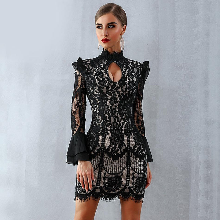 Lucia Black Long Sleeve Lace Dress