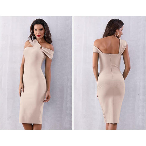 Rayna Off The Shoulder Midi Dress, Bandage Dress - Viva Devine