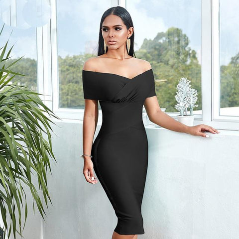 Image of Lucie Off Shoulder Midi Dress