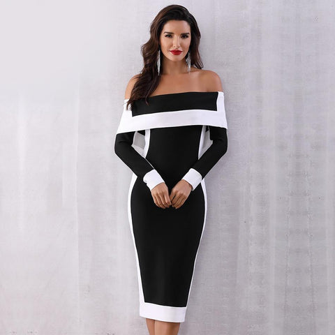 Image of Amiyah Off The Shoulder Bandage Dress