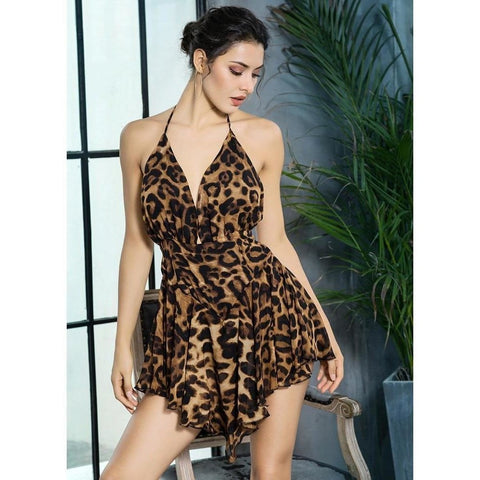 Naomi Leopard Backless Playsuit
