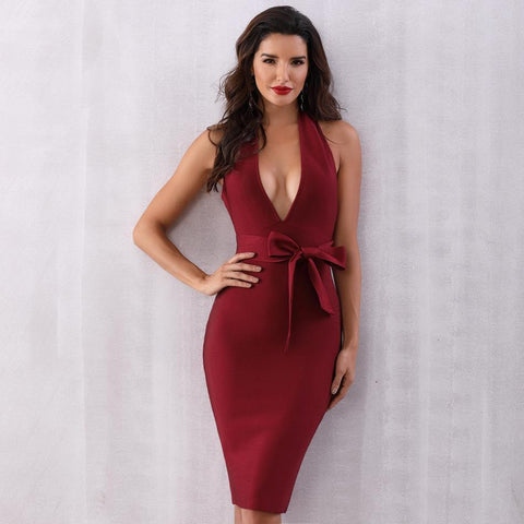 Jolie Halter V Neck Open Back Dress, Bandage Dress - Viva Devine
