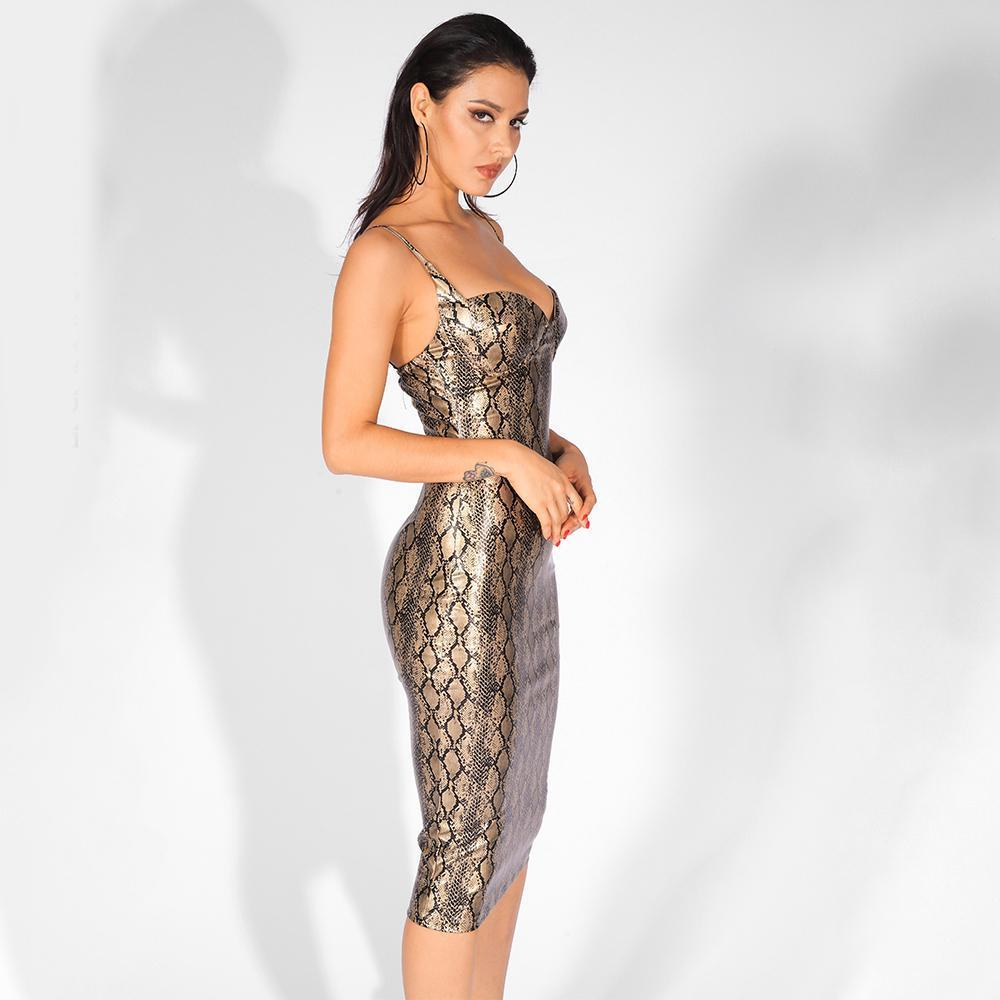 Amaya Snake Elastic Party Dress, Party Dress - Viva Devine