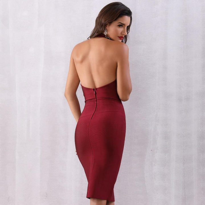 Jolie Halter V Neck Open Back Dress