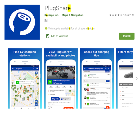 Apps for ebike charging stations
