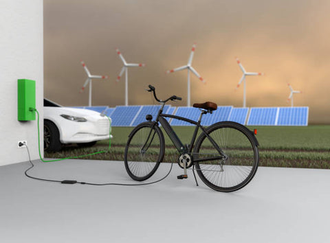 Charging an electric bicycle and an electric car