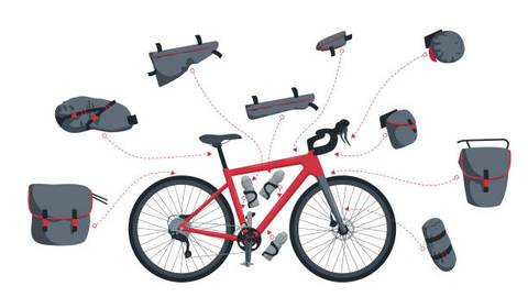 Ebike packing essential equipment and supply illustration