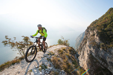 Electric Mountain Bike  in action on top of a hill