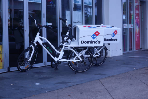 Parked Pizza delivery electric bike