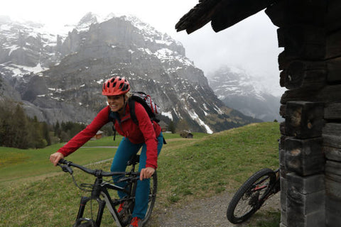 Woman with her Ebike in the mountain