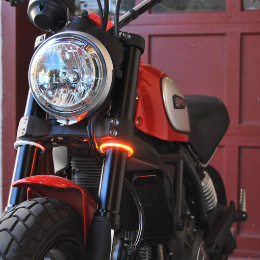New Rage Cycles Fork Mounted Turn Signals Scrambler 800 and 1100 for Ducati Scrambler