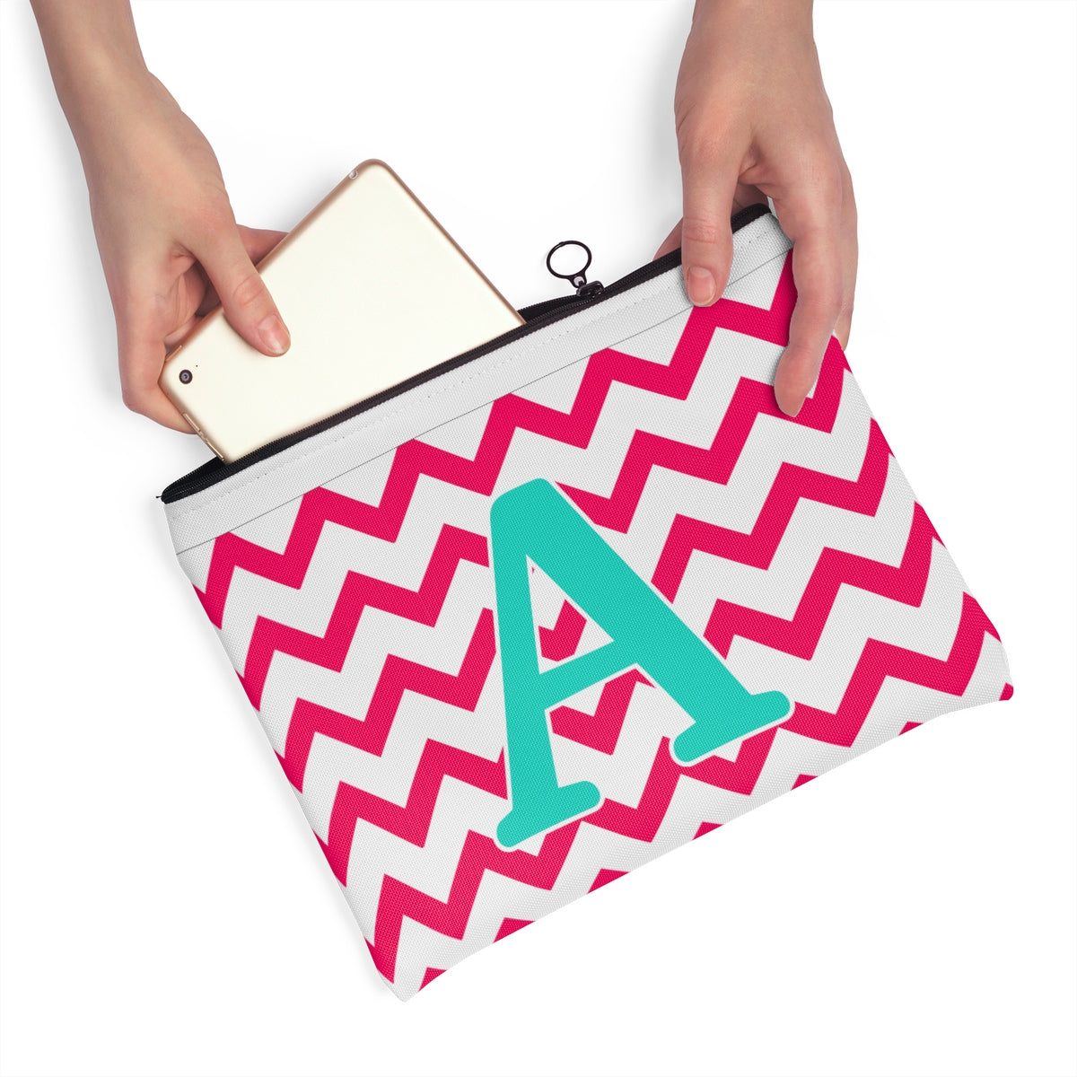 Monogrammed Zig Zag Carry All Pouch, Pencil Bag, Chevron Makeup Bag