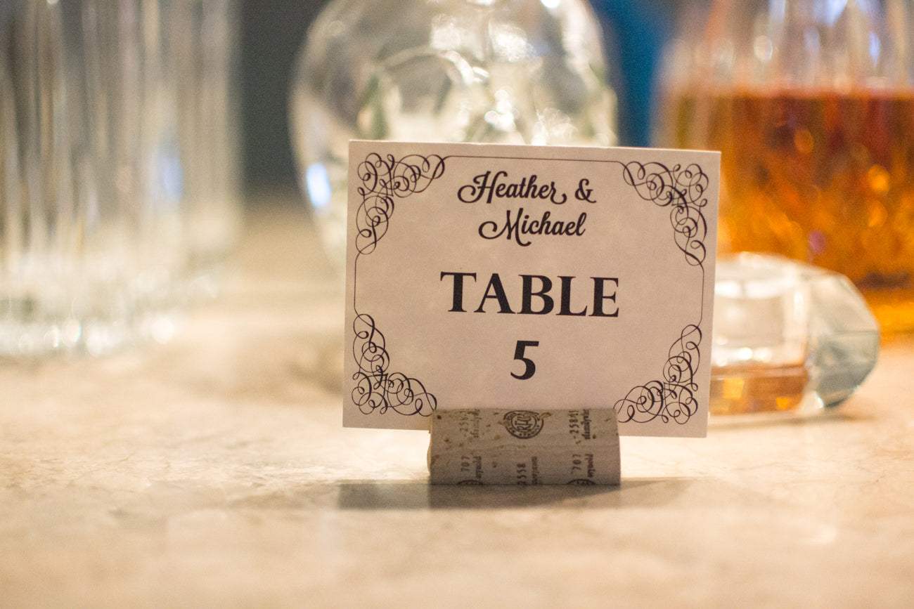 Elegant Swirls Table Cards Downloadable