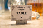 Elegant Swirls Table Number Cards Downloadable