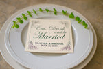Custom Eat, Drink, and Be Married Personalized Wedding Paper Coasters - Lindsay Ann Artistry