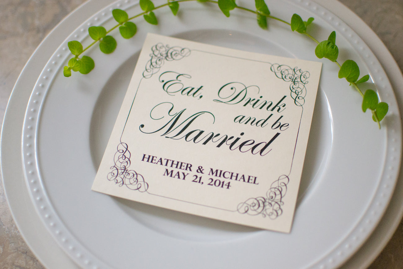 Custom Eat, Drink, and Be Married Personalized Wedding Paper Coasters